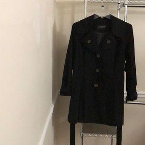 Liz Claiborne Black Trench/Rain Coat Size